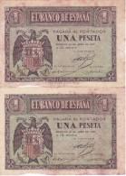 PAREJA CORRELATIVA DE 1 PTA DEL 30 ABRIL 1938 SERIE D SIN CIRCULAR PERO DESCUIDADAS  (BANKNOTE) - [ 3] 1936-1975 : Régence De Franco
