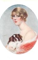 G.  HERVE CARESSES FEMME ET SON CHIEN - Peintures & Tableaux