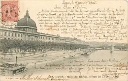 CPA Lyon-Quai Du Rhône-Dôme De L'hôtel Dieu   L2221 - Lyon
