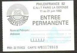 FRANCE - Philexfrance 82 -  Billet D´entrée - Blocs & Feuillets
