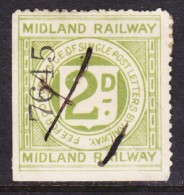 Great Britain: Queen Victoria Era, Midland Railway Single Post Letters, 2d, Used - 1840-1901 (Victoria)