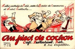 AU PIED DE COCHON..CAFE RESTAURANT BAR...CPM - Publicité