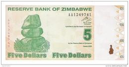 Zimbabwe - Pick 93 - 5 Dollars 2009 - Unc - Zimbabwe