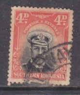 Southern Rhodesia, 1924 Admiral 4d, Used, Portrait Shift 2mm Down - Southern Rhodesia (...-1964)