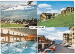 Veysonnaz: 2x FIAT 127, CITROËN GS BREAK - Centre Sportif, Piscine/Hallenbad - (Schweiz/Suisse/CH) - Postkaarten