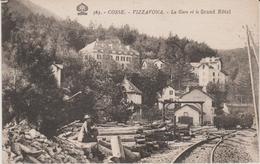 20 VIZZAVONA 1910 ? LA GARE ET LE GRAND HOTEL FEMME AU PREMIER PLAN - Francia
