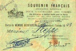 VP5536 - Carte De Membre Bienfaiteur Du Souvenir Français  -  Mr FREPP à VILLEPARISIS - Cartes