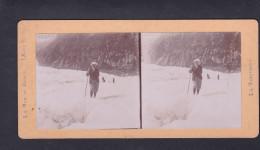 Photo Stereoscopique Chamonix Mont Blanc La Mer De Glace - La Traversee  ( Aout 1898 ) - Photos Stéréoscopiques