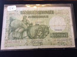 50  Francs  1943 Belgique - [ 2] 1831-... : Reino De Bélgica