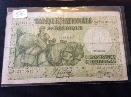 50  Francs  1943 Belgique - 50 Francos-10 Belgas
