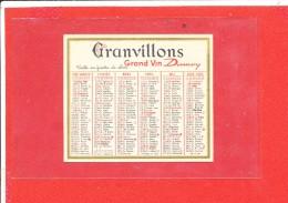 CALENDRIER 1963 Publicité Granvillons Grand Vin - Petit Format : 1961-70