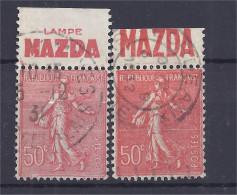 France - Carnets - Pub - Semeuse 50 C Rouge - Yvert N° 199 - MAZDA - Lot De 2 - Oblitérés - Advertising
