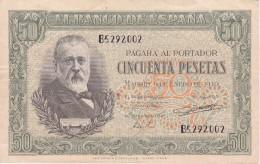 BILLETE DE ESPAÑA DE 50 PTAS DEL 9/01/1940 SERIE B CALIDAD  MBC (VF) (BANKNOTE) - [ 3] 1936-1975 : Régimen De Franco
