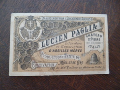 Carte Pub Lucien Paglia Château Saint Pierre Italie établissement Pour L'éducation Des Abeilles Apiculture Ruches - Publicités