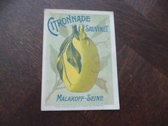Carte Pub Citronade Sauvinet Malakoff Seine - Publicidad