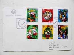 Cover Sent From Paraguay To Suisse 1982 Fdc Overprints Essen Germany Children Angels Christmas Navidad Noel - Paraguay