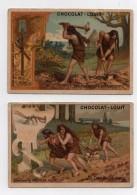 CHROMO Chocolat Louit Préhistoire  Premiers Défrichements Pelle Pioche La Charrue Humaine Soc Labour Hommes (2 Chromos) - Louit