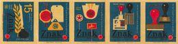 Tchécoslovaquie - Série De 5 Etiquettes De Boites D'Allumettes (Štítky Matchbox) Znak 1950-1965 - Solo Lipnik - Boites D'allumettes - Etiquettes
