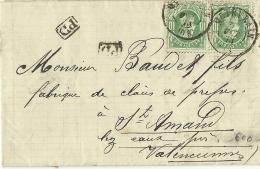 BELGIQUE ENVELOPPE TIMBREE ENVOYEE QUIEVRAIN PAR HENRI JANSON AGENCE EN DOUANE VERS SAINT AMAND LES EAUX EN 1873 - Non Classés
