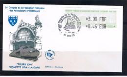 ATM, 3.00 FRF-0.46 EUR, Sur FDC, 1er Jour, 74éme CONGRES DE LA FFAP, TOURS, TGV, GARE, LOCOMOTIVE, 1er JUIN 2001. - Treinen