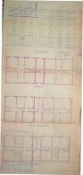 1936 - XIV 23 AGOSTO PROGETTO DI UNA CASA SPLENDIDA PLANIMETRIA FATTA E COLORATA A MANO - Carte Topografiche