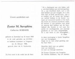 Dp. Zuster M. Seraphine. Bobbaers Catharina. ° Zutendaal 1909 † Tongeren 1988 - Religion & Esotérisme
