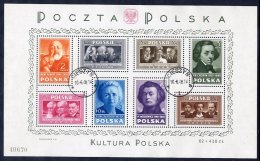 POLAND 1948  Polish Culture Block  Used.  Michel Block 10 - Blocks & Sheetlets & Panes