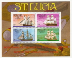 St Lucia,  Scott 2015 # 386a,  Issued 1976,  S/S Of 4,  MNH,  Cat $ 4.00,  Ships - St.Lucia (1979-...)