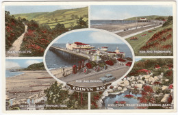 Colwyn Bay: HILLMAM MINX PHASE 8, OLDTIMER CARS, PHONE-BOOTH - Pier And Pavilion - (Wales) - Postkaarten