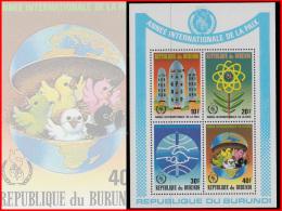 Burundi BL 0122/22A**  Année Internationale De La Paix MNH - 1980-89: Neufs