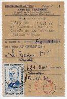 Héros De La Résistance Vieljeux (n° 1251) Seul Sur Avis De Virement à Un CCP Du 15.5.1960 - 1961-....