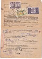 #  T 128  R.P.R, OINA SPORT, 1951,  FOUR STAMPS,  PROOF OF FULLFILLMENT PROCEDURE, REGISTRED ROMANIA - Oblitérés