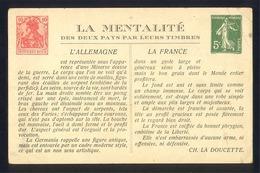 CPA Fantaisie - ALLEMAGNE / FRANCE - La Mentalité Des Deux Pays Par Leurs Timbres - SEMEUSE / GERMANIA - Timbres (représentations)