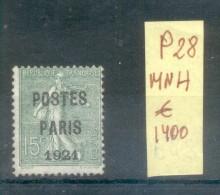 FRANCE ANS 1920-22 PREOBLITERE YVERT NR. 28 MNH AVEC 2 CERTIFICATIONS D'EXPERTS AU DOS (SEBASTIAN GRUNBERG ET CORBELLA) - Préoblitérés