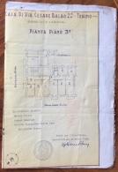 TORINO CASA VIA C.BALBO 22 ROGITO NOTAIO PIERRE BLANC CON PLANIMETRIA ALLEGATA - Carte Topografiche
