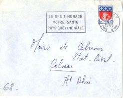 """SAN-L13 - FRANCE Belle Flamme De Valence Sur Lettre """"Le Bruit Menace Votre Santé Physique Et Morale"""" Dijon 1969 - Pollution"""