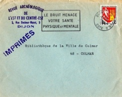 """SAN-L14 - FRANCE Belle Flamme De Valence Sur Lettre """"Le Bruit Menace Votre Santé Physique Et Morale"""" Dijon 1969 - Umweltverschmutzung"""