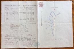 COMUNE DI SERRAVALLE PROGETTO ORIGINALE DERIVAZIONE ACQUA SALATA  DEL 2GENNAIO 1869  FATTO E DISEGNATO A MANO - Carte Topografiche
