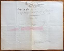 BELGIO PROVINCE DE NAMUR  PONTS ET CHAUSSEES  COPIE DU PLAN PLANIMETRIA DEL 1846 FATTA E COLORATA A MANO - Carte Topografiche