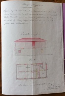 OZZANO DELL'EMILIA  VALLE BECCHETTI 1874 PROGETTO ORIGINALE CON ALLEGATA PLANIMETRIA FATTA E COLORATA A MANO - - Carte Topografiche