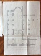 ASTI  ABBAZIA DI VEZZOLANO ANTICA STAMPA DELLA PIANTA DELLA CHIESA  25x35 - Mappe