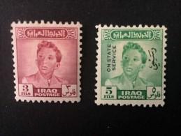 1948 Roi Faisal II Yvert 157a*) + 157 On State Service*) - Iraq