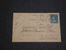 FRANCE - Entier Postal Type Semeuse De Clermont Ferrand Pour Blonville Sur Mer En 1922 - A Voir - L 2701 - Postal Stamped Stationery