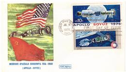 STORIA POSTALE - USA - FDC ROMA - ANNO 1975 - MISSIONE SPAZIALE CONGIUNTA USA - URSS - (APOLLO - SOYUZ)  - - America Centrale