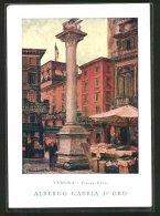Cartolina Verona, Piazza Erbe, Albergo Gabbia D'Oro - Verona
