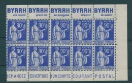 !!! 90 C TYPE PAIX BLOC DE 10 (1/2 INTERIEUR DE CARNET) AVEC PUBS BYRRH - POSTE NEUF ** - Pubblicitari