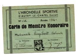 Autry Le Chatel L'Hirondelle Sportive Carte De Membre Honoraire - Maps