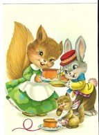 Illust. ?---( écureuils + Lapin + Gâteau Humanisé )---voir 2 Scans - Illustrateurs & Photographes