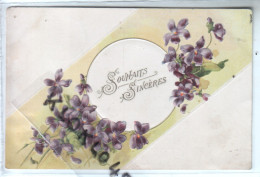 Fantaisie - Bouquet De Violettes Autour Du Disque Embouti SouhaitsSincères - CPA Couleur Dos Inversé K. F. - Holidays & Celebrations