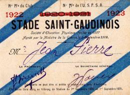SAINT-GAUDENS / HAUTE-GARONNE : STADE SAINT-GAUDINOIS : CARTE DE LIBRE ACCÈS AU STADIUM : 1922 - 1923 (u-984) - Documents Historiques